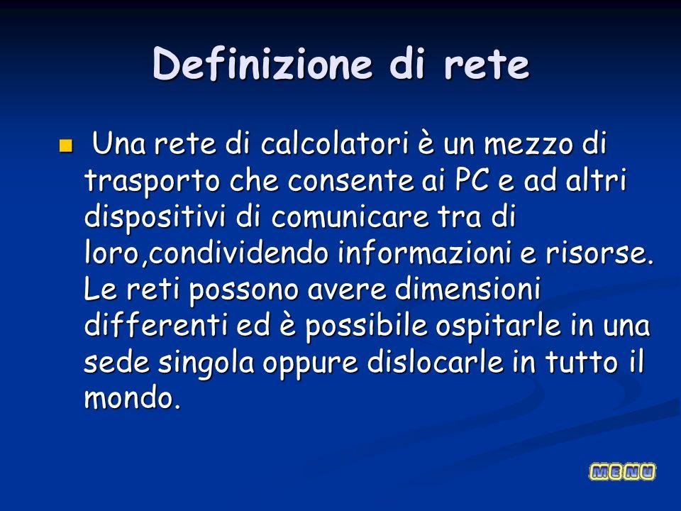 Definizione di rete Una rete di calcolatori è un mezzo di trasporto che consente ai PC e ad altri dispositivi di comunicare tra di loro,condividendo i