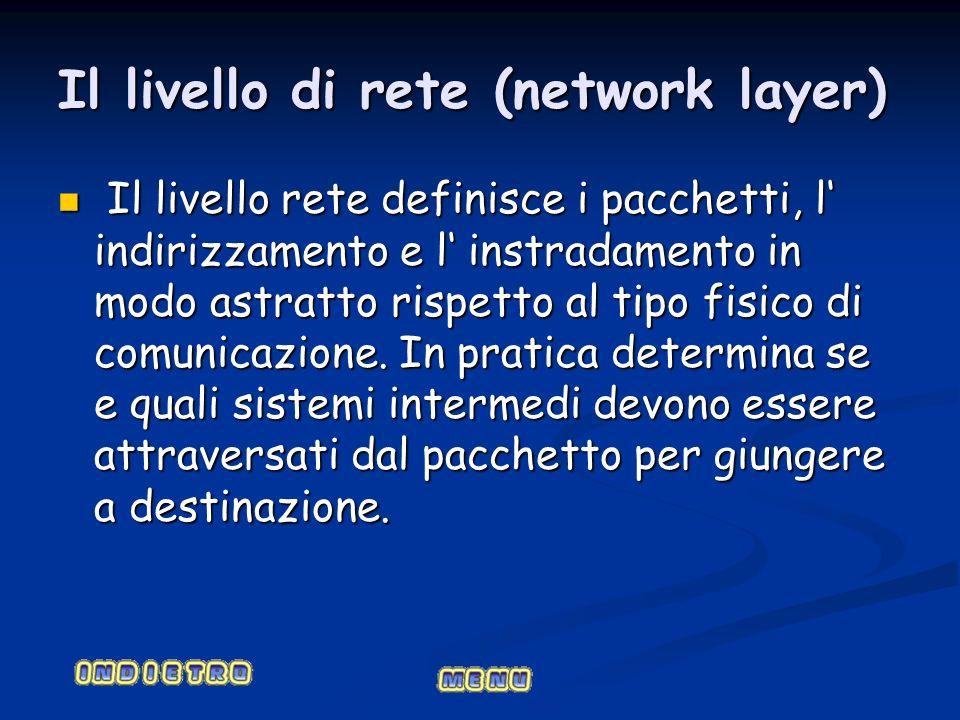 Il livello di rete (network layer) Il livello rete definisce i pacchetti, l indirizzamento e l instradamento in modo astratto rispetto al tipo fisico