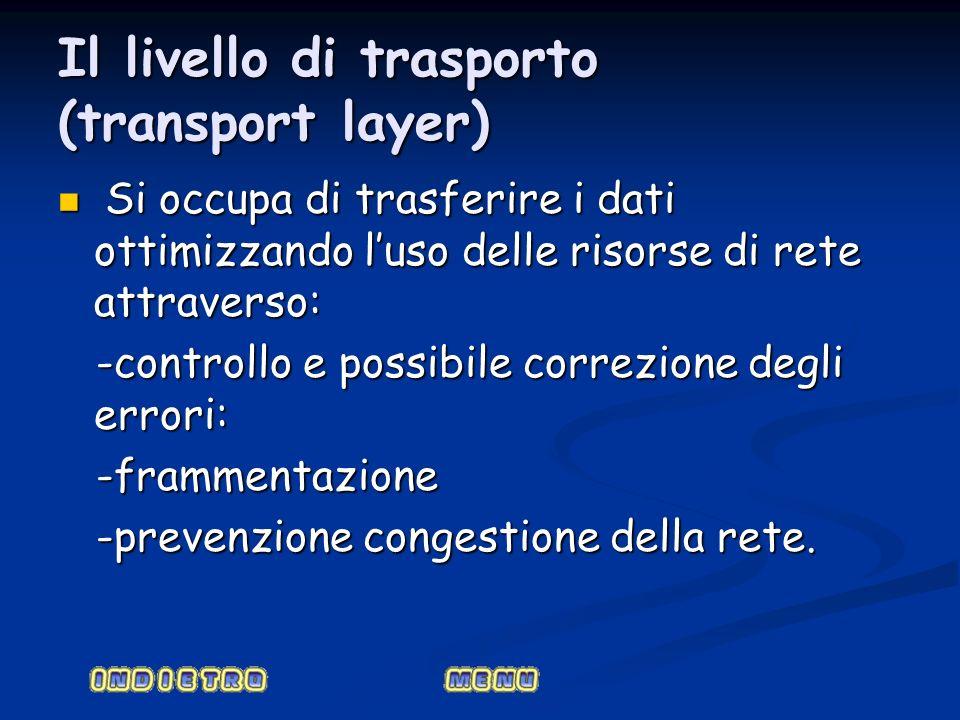 Il livello di trasporto (transport layer) Si occupa di trasferire i dati ottimizzando luso delle risorse di rete attraverso: Si occupa di trasferire i