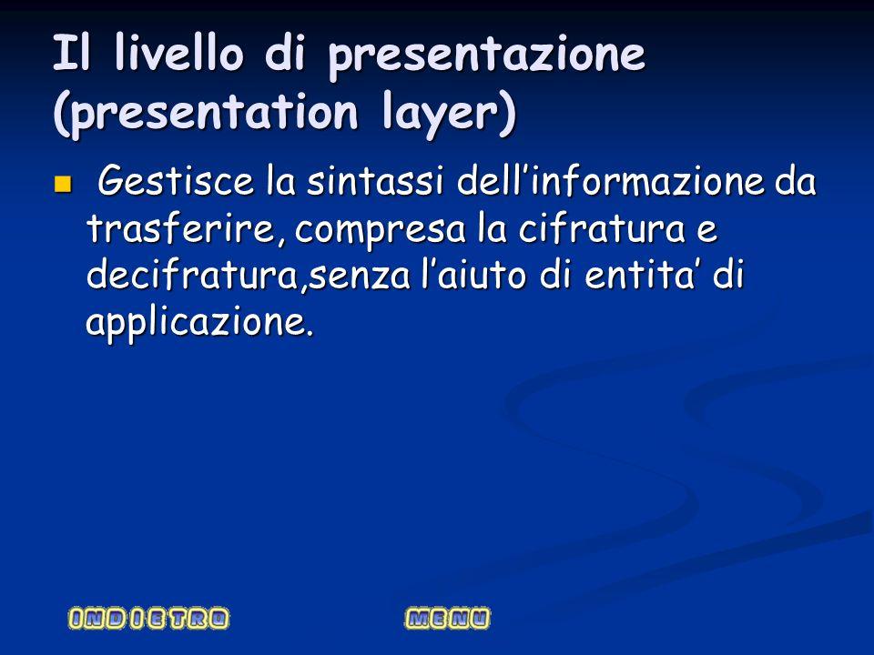 Il livello di presentazione (presentation layer) Gestisce la sintassi dellinformazione da trasferire, compresa la cifratura e decifratura,senza laiuto