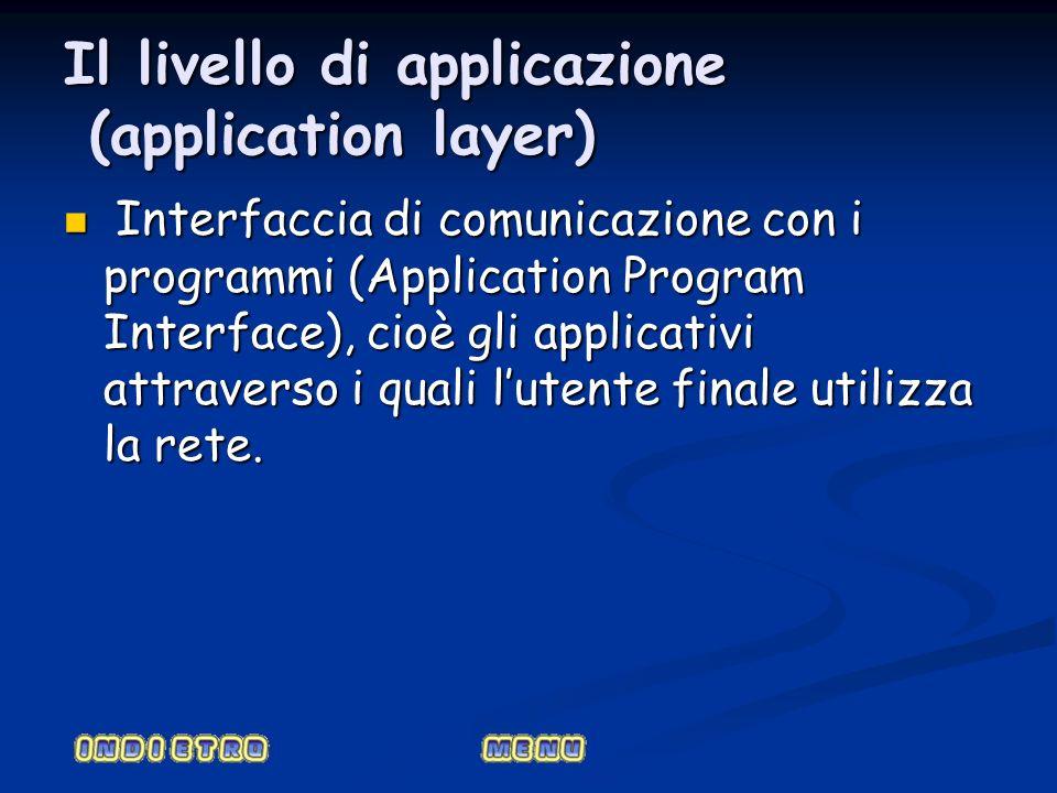 Il livello di applicazione (application layer) Interfaccia di comunicazione con i programmi (Application Program Interface), cioè gli applicativi attr