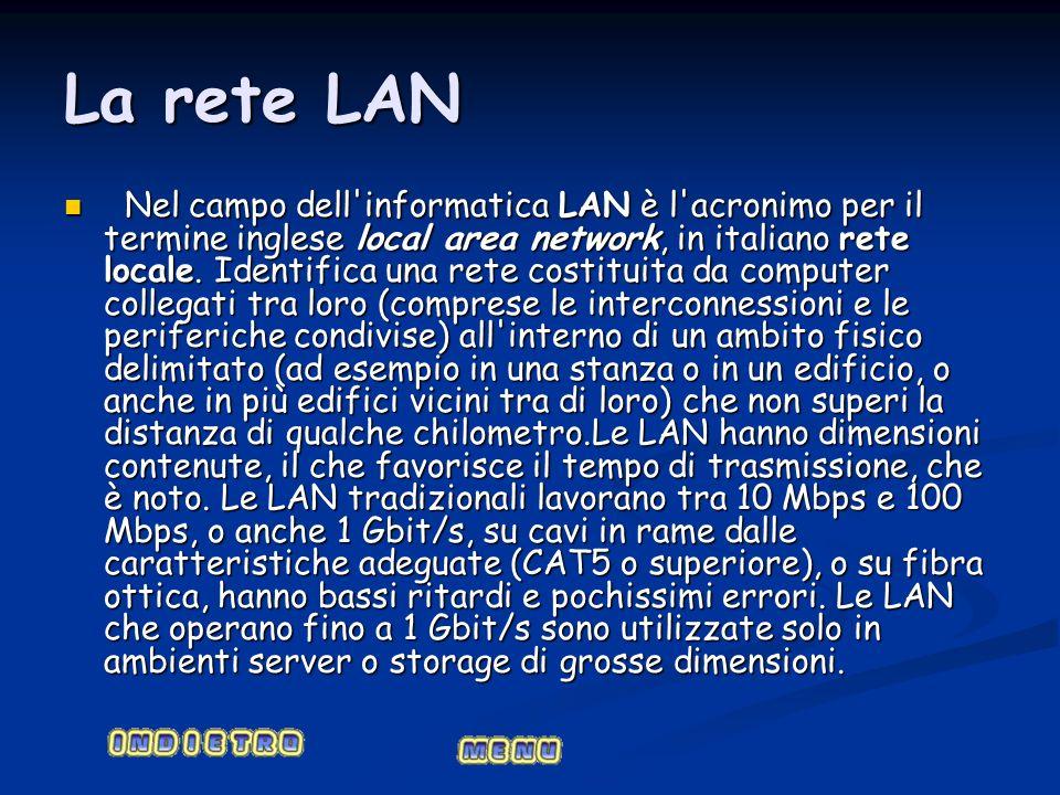 La rete LAN Nel campo dell'informatica LAN è l'acronimo per il termine inglese local area network, in italiano rete locale. Identifica una rete costit