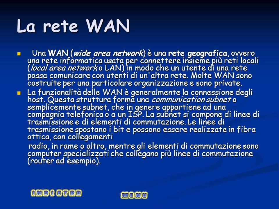 La rete WAN Una WAN (wide area network) è una rete geografica, ovvero una rete informatica usata per connettere insieme più reti locali (local area ne