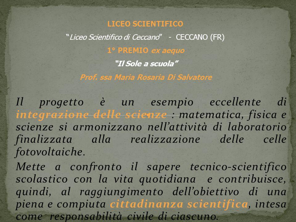 Il progetto è un esempio eccellente di integrazione delle scienze : matematica, fisica e scienze si armonizzano nellattività di laboratorio finalizzata alla realizzazione delle celle fotovoltaiche.