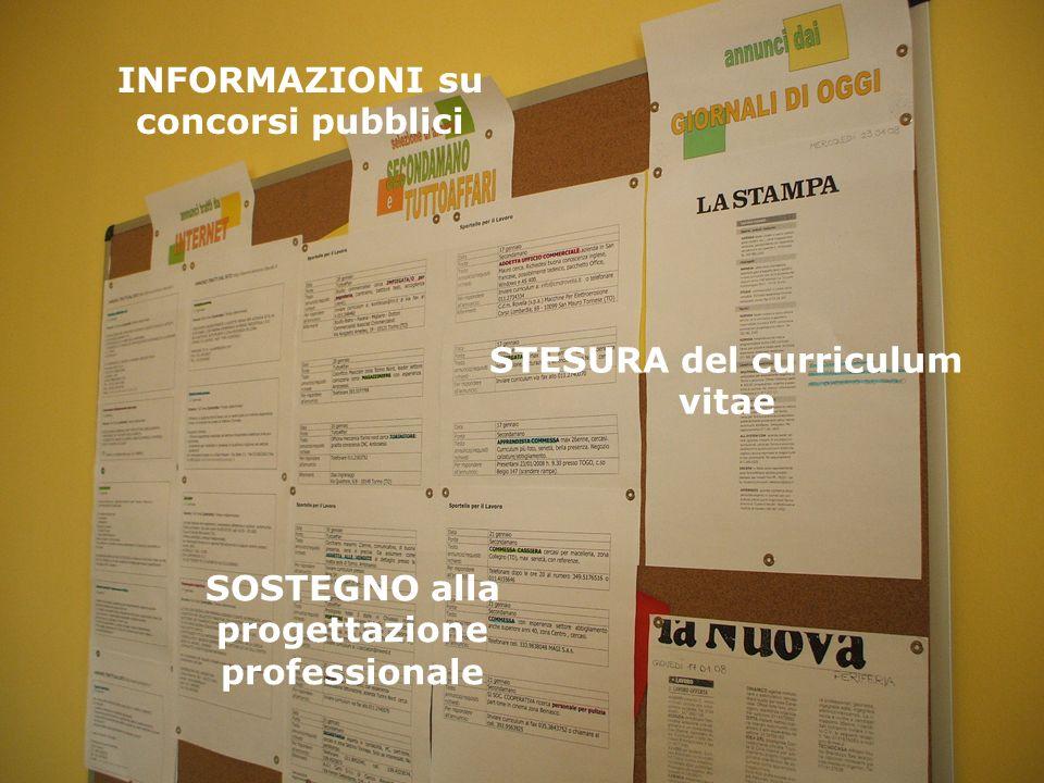 INFORMAZIONI su concorsi pubblici STESURA del curriculum vitae SOSTEGNO alla progettazione professionale