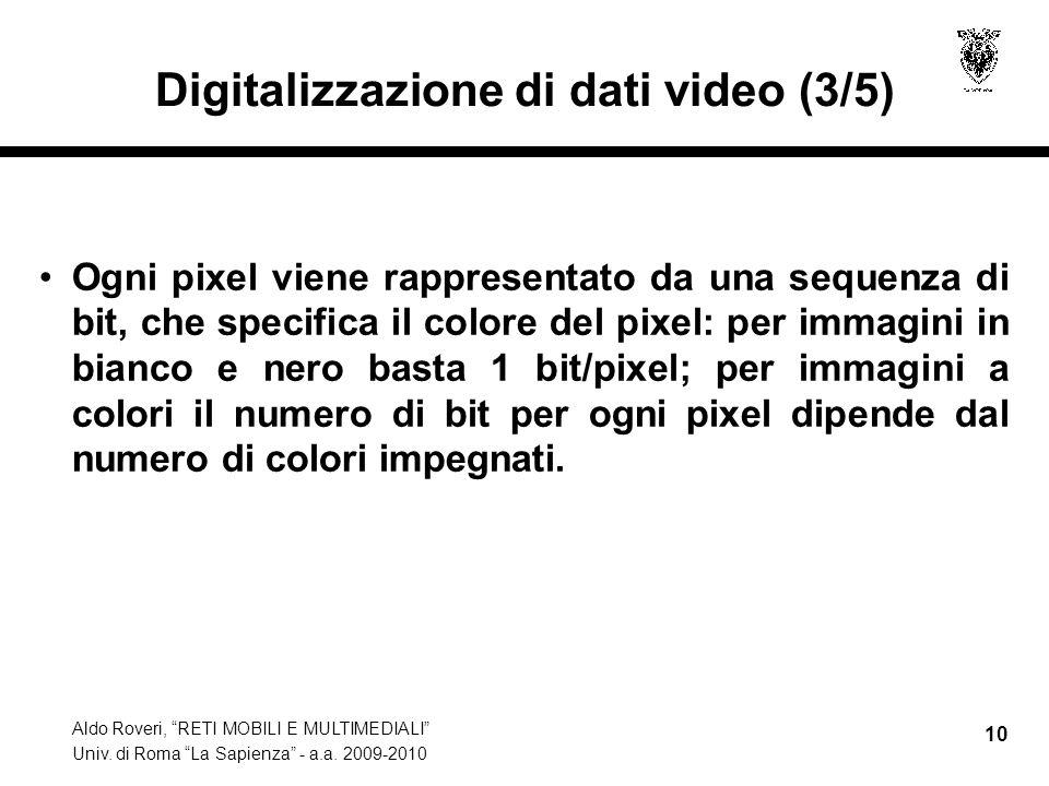 Aldo Roveri, RETI MOBILI E MULTIMEDIALI Univ. di Roma La Sapienza - a.a. 2009-2010 10 Digitalizzazione di dati video (3/5) Ogni pixel viene rappresent