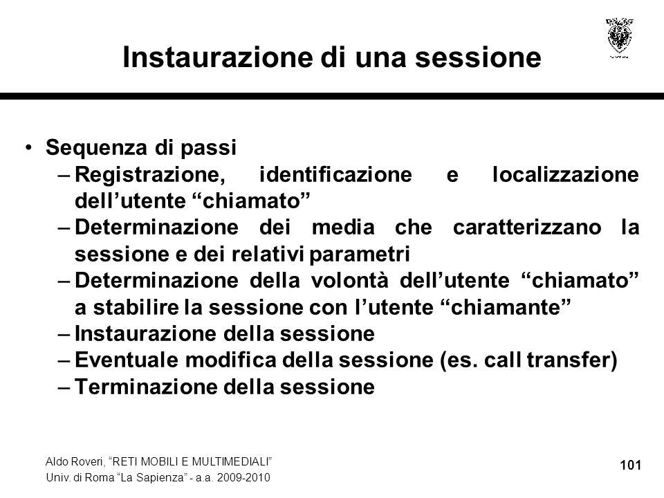 Aldo Roveri, RETI MOBILI E MULTIMEDIALI Univ. di Roma La Sapienza - a.a. 2009-2010 101 Instaurazione di una sessione Sequenza di passi –Registrazione,