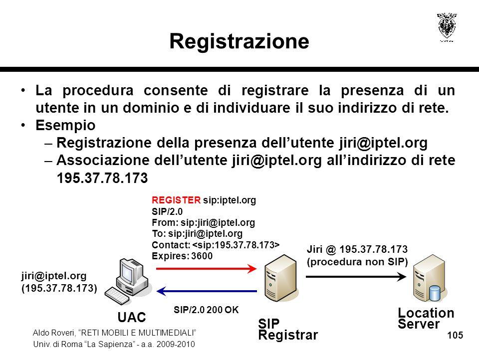 Aldo Roveri, RETI MOBILI E MULTIMEDIALI Univ. di Roma La Sapienza - a.a. 2009-2010 105 Registrazione La procedura consente di registrare la presenza d