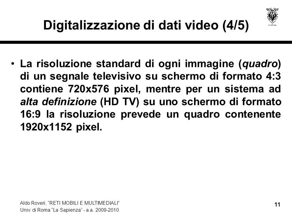 Aldo Roveri, RETI MOBILI E MULTIMEDIALI Univ. di Roma La Sapienza - a.a. 2009-2010 11 Digitalizzazione di dati video (4/5) La risoluzione standard di