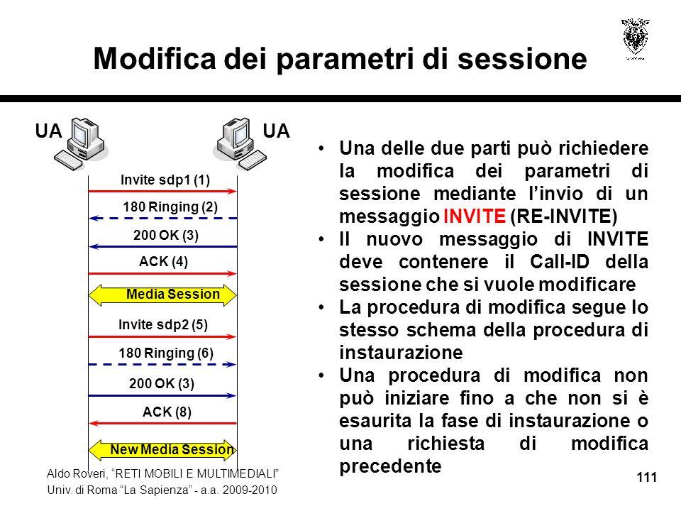Aldo Roveri, RETI MOBILI E MULTIMEDIALI Univ. di Roma La Sapienza - a.a. 2009-2010 111 Modifica dei parametri di sessione Una delle due parti può rich