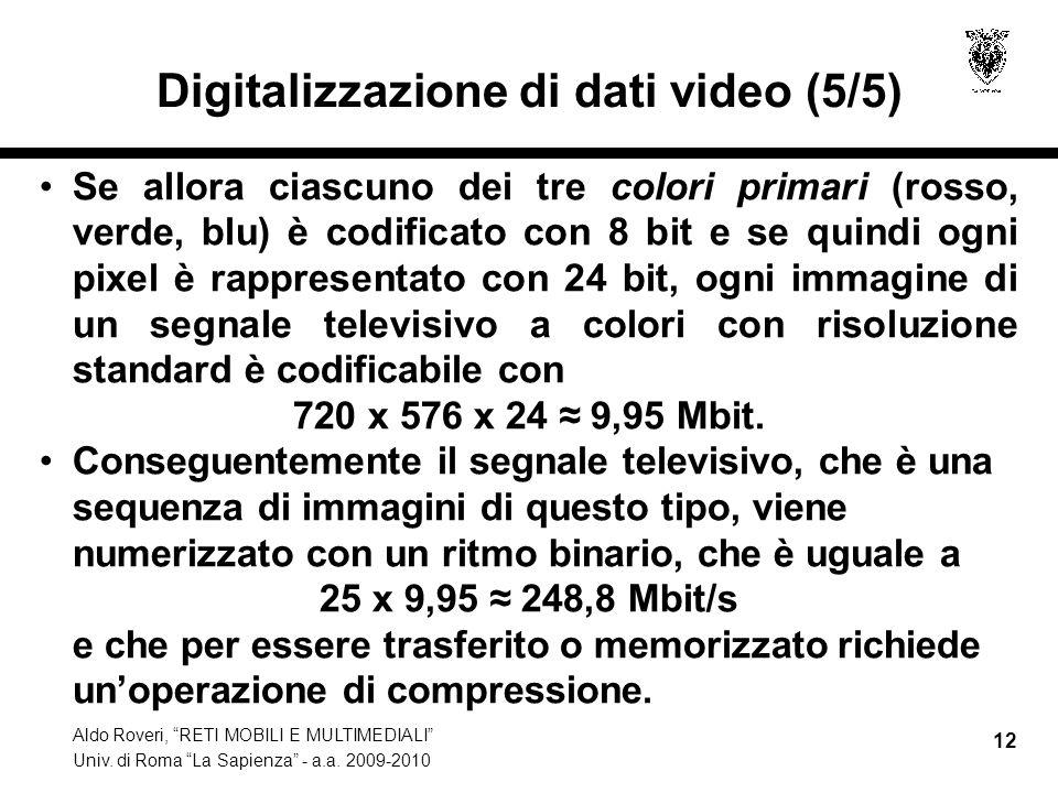 Aldo Roveri, RETI MOBILI E MULTIMEDIALI Univ. di Roma La Sapienza - a.a. 2009-2010 12 Digitalizzazione di dati video (5/5) Se allora ciascuno dei tre