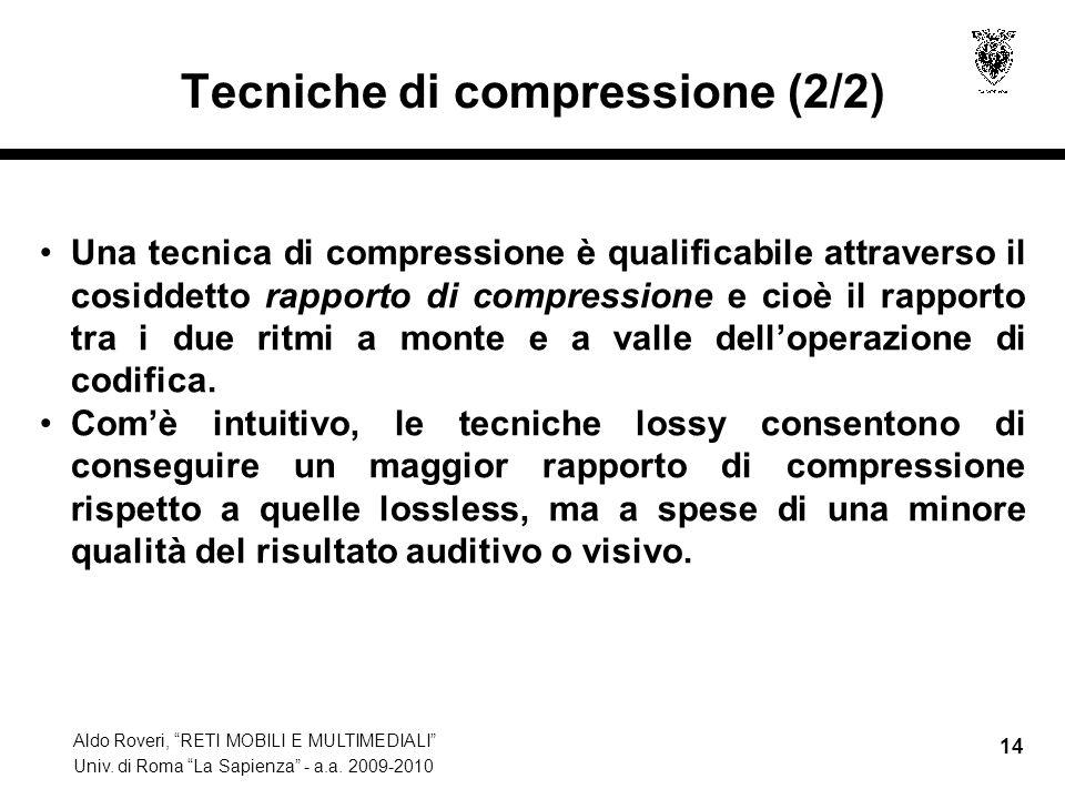 Aldo Roveri, RETI MOBILI E MULTIMEDIALI Univ. di Roma La Sapienza - a.a. 2009-2010 14 Tecniche di compressione (2/2) Una tecnica di compressione è qua