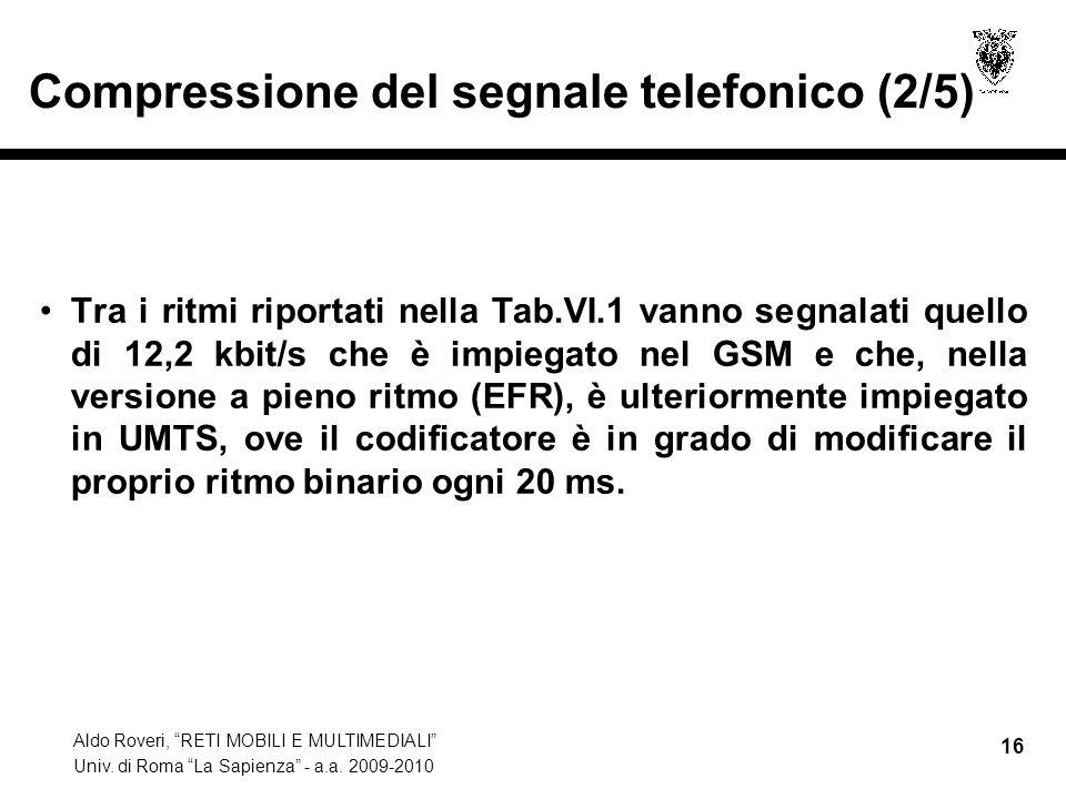 Aldo Roveri, RETI MOBILI E MULTIMEDIALI Univ. di Roma La Sapienza - a.a. 2009-2010 16 Compressione del segnale telefonico (2/5) Tra i ritmi riportati