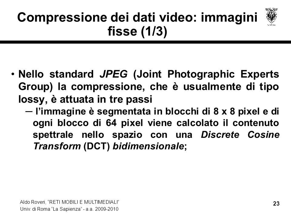 Aldo Roveri, RETI MOBILI E MULTIMEDIALI Univ. di Roma La Sapienza - a.a. 2009-2010 23 Compressione dei dati video: immagini fisse (1/3) Nello standard