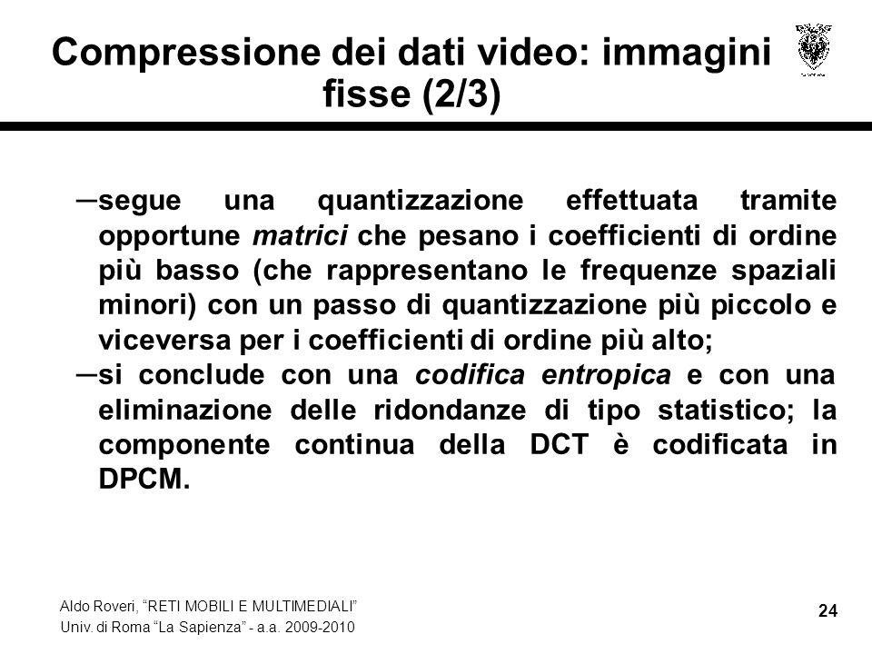 Aldo Roveri, RETI MOBILI E MULTIMEDIALI Univ. di Roma La Sapienza - a.a. 2009-2010 24 Compressione dei dati video: immagini fisse (2/3) segue una quan