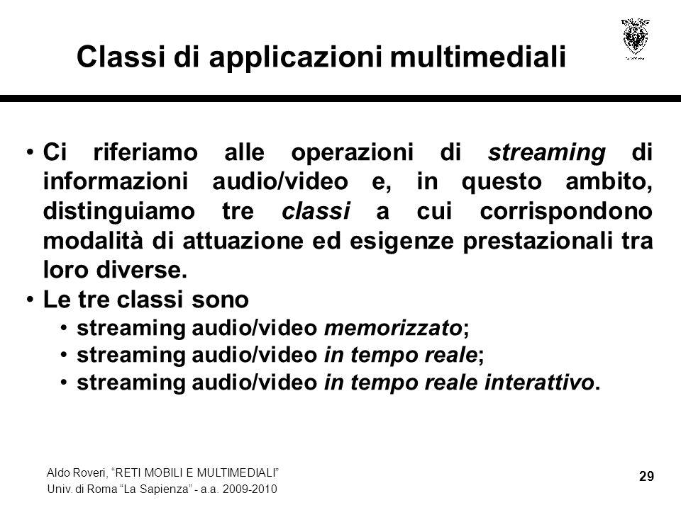 Aldo Roveri, RETI MOBILI E MULTIMEDIALI Univ. di Roma La Sapienza - a.a. 2009-2010 29 Classi di applicazioni multimediali Ci riferiamo alle operazioni