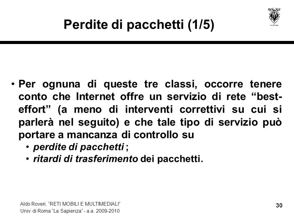 Aldo Roveri, RETI MOBILI E MULTIMEDIALI Univ. di Roma La Sapienza - a.a. 2009-2010 30 Perdite di pacchetti (1/5) Per ognuna di queste tre classi, occo