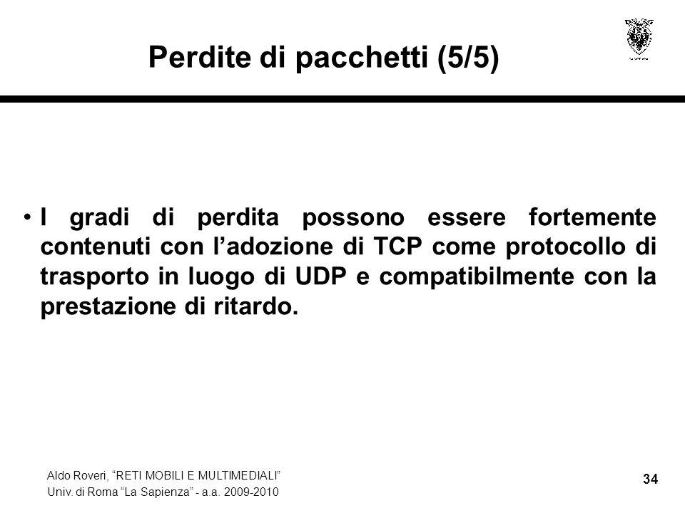 Aldo Roveri, RETI MOBILI E MULTIMEDIALI Univ. di Roma La Sapienza - a.a. 2009-2010 34 Perdite di pacchetti (5/5) I gradi di perdita possono essere for