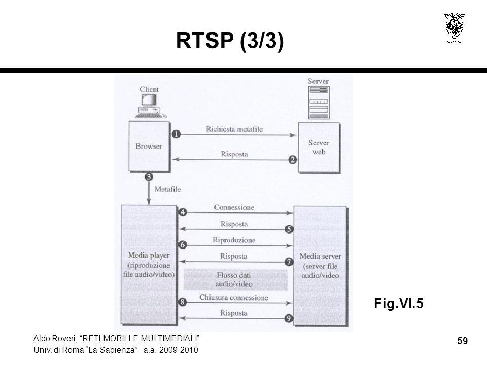 Aldo Roveri, RETI MOBILI E MULTIMEDIALI Univ. di Roma La Sapienza - a.a. 2009-2010 59 RTSP (3/3) Fig.VI.5