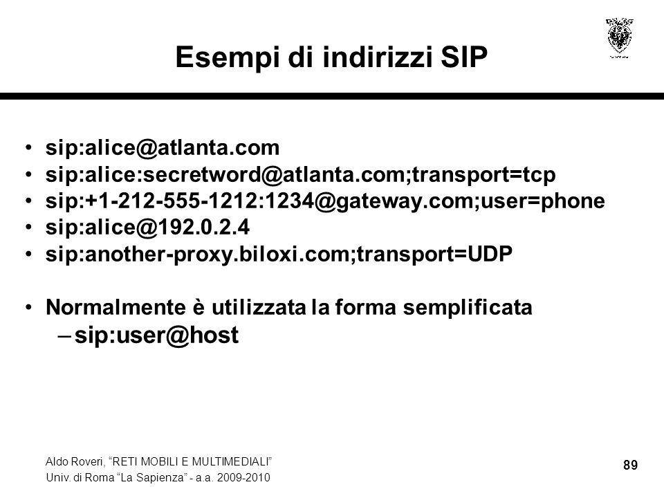 Aldo Roveri, RETI MOBILI E MULTIMEDIALI Univ. di Roma La Sapienza - a.a. 2009-2010 89 Esempi di indirizzi SIP sip:alice@atlanta.com sip:alice:secretwo