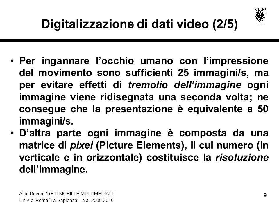 Aldo Roveri, RETI MOBILI E MULTIMEDIALI Univ. di Roma La Sapienza - a.a. 2009-2010 9 Digitalizzazione di dati video (2/5) Per ingannare locchio umano