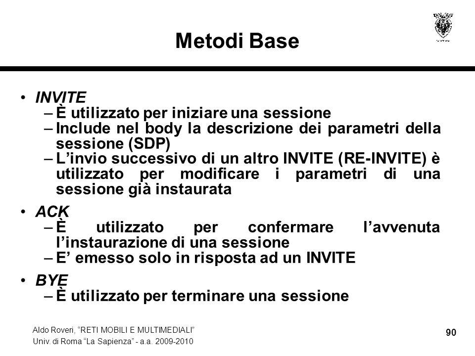 Aldo Roveri, RETI MOBILI E MULTIMEDIALI Univ. di Roma La Sapienza - a.a. 2009-2010 90 Metodi Base INVITE –È utilizzato per iniziare una sessione –Incl
