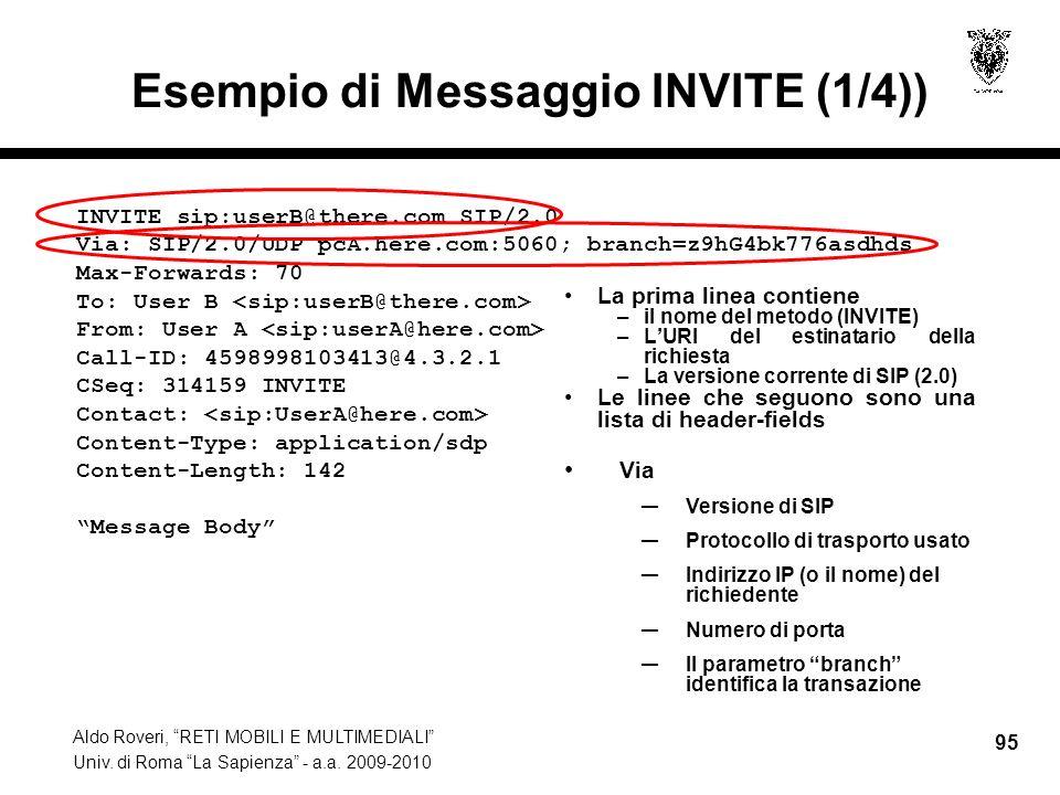 Aldo Roveri, RETI MOBILI E MULTIMEDIALI Univ. di Roma La Sapienza - a.a. 2009-2010 95 Esempio di Messaggio INVITE (1/4)) La prima linea contiene –il n