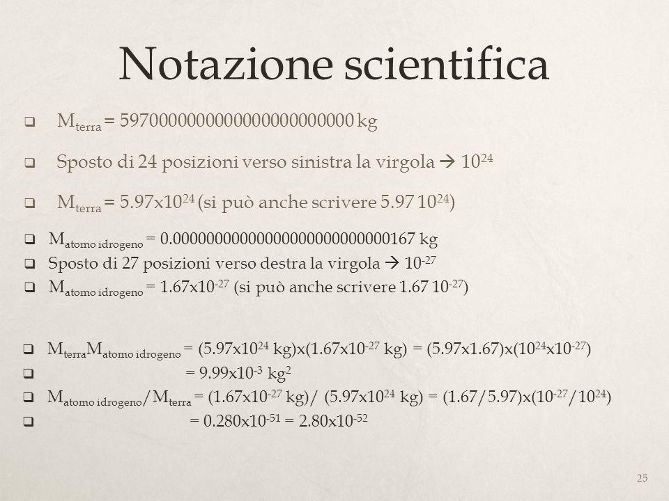 Notazione scientifica 25 M terra = 5970000000000000000000000 kg Sposto di 24 posizioni verso sinistra la virgola 10 24 M terra = 5.97x10 24 (si può an