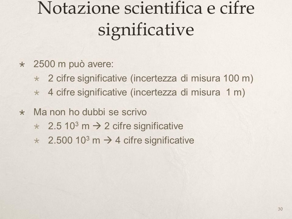 Notazione scientifica e cifre significative 2500 m può avere: 2 cifre significative (incertezza di misura 100 m) 4 cifre significative (incertezza di