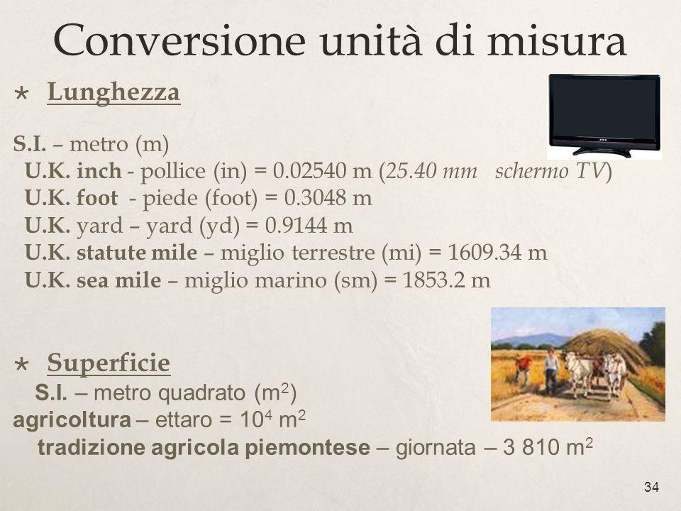 Conversione unità di misura 34 Lunghezza S.I. – metro (m) U.K. inch - pollice (in) = 0.02540 m ( 25.40 mm schermo TV ) U.K. foot - piede (foot) = 0.30