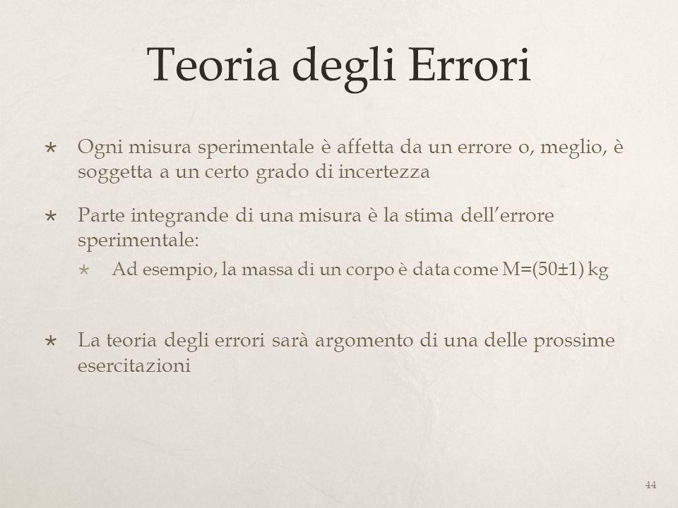 Teoria degli Errori Ogni misura sperimentale è affetta da un errore o, meglio, è soggetta a un certo grado di incertezza Parte integrande di una misur