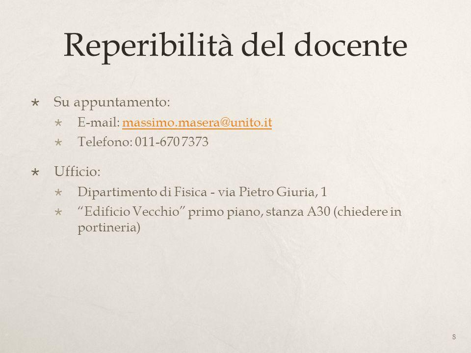 Reperibilità del docente Su appuntamento: E-mail: massimo.masera@unito.itmassimo.masera@unito.it Telefono: 011-670 7373 Ufficio: Dipartimento di Fisic