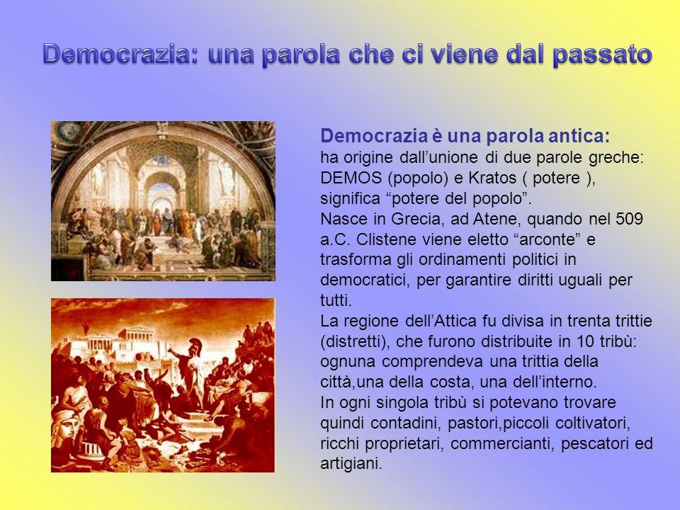 Democrazia è una parola antica: ha origine dallunione di due parole greche: DEMOS (popolo) e Kratos ( potere ), significa potere del popolo. Nasce in