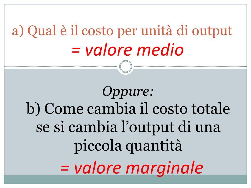 a) Qual è il costo per unità di output Oppure: b) Come cambia il costo totale se si cambia loutput di una piccola quantità = valore medio = valore mar