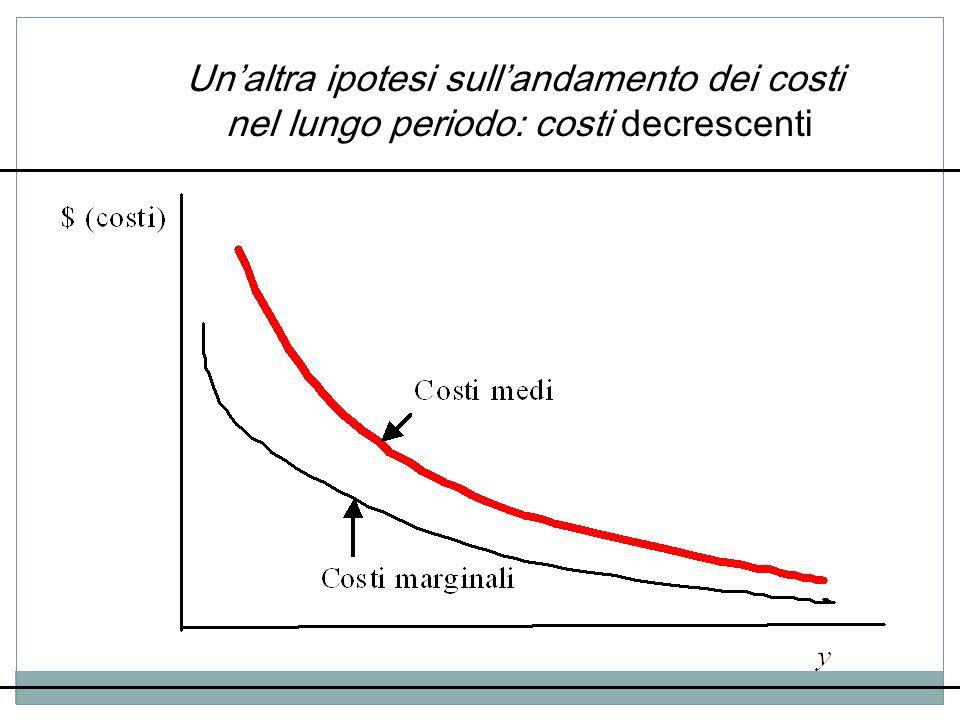 Unaltra ipotesi sullandamento dei costi nel lungo periodo: costi decrescenti