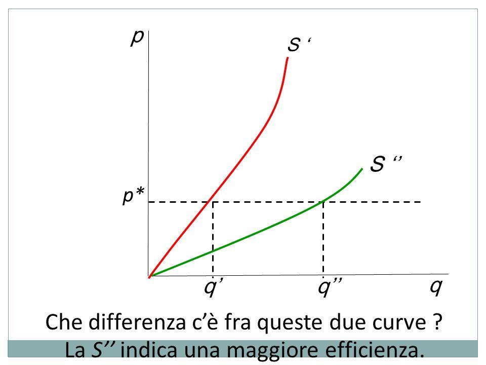 p q S S Che differenza cè fra queste due curve ? p* qq La S indica una maggiore efficienza.