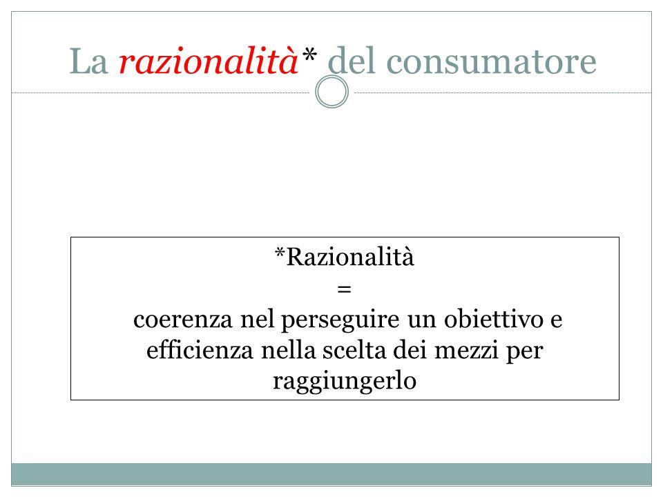 La razionalità* del consumatore *Razionalità = coerenza nel perseguire un obiettivo e efficienza nella scelta dei mezzi per raggiungerlo