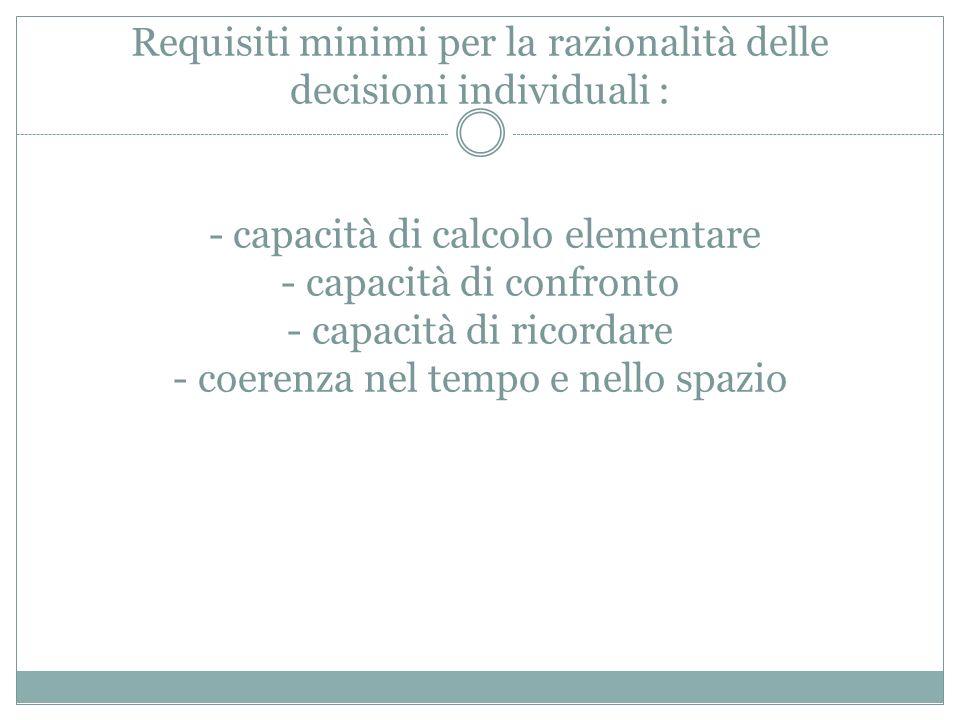 Requisiti minimi per la razionalità delle decisioni individuali : - capacità di calcolo elementare - capacità di confronto - capacità di ricordare - c