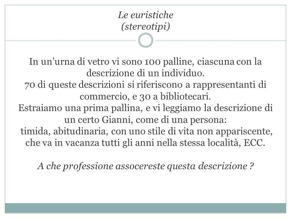Le euristiche (stereotipi) In unurna di vetro vi sono 100 palline, ciascuna con la descrizione di un individuo. 70 di queste descrizioni si riferiscon