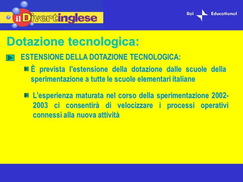 Dotazione tecnologica: È prevista lestensione della dotazione dalle scuole della sperimentazione a tutte le scuole elementari italiane ESTENSIONE DELLA DOTAZIONE TECNOLOGICA: Lesperienza maturata nel corso della sperimentazione 2002- 2003 ci consentirà di velocizzare i processi operativi connessi alla nuova attività