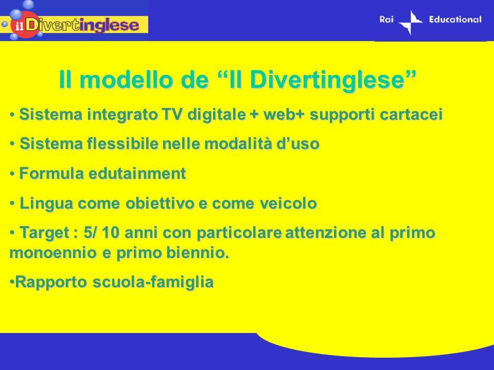Il modello de Il Divertinglese Sistema integrato TV digitale + web+ supporti cartacei Sistema integrato TV digitale + web+ supporti cartacei Sistema f