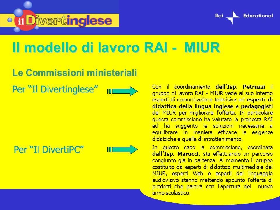 Il modello di lavoro RAI - MIUR Le Commissioni ministeriali Per Il Divertinglese Per Il DivertiPC In questo caso la commissione, coordinata dallIsp. M