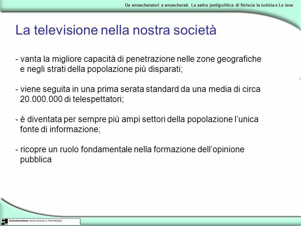 La televisione nella nostra società - vanta la migliore capacità di penetrazione nelle zone geografiche e negli strati della popolazione più disparati