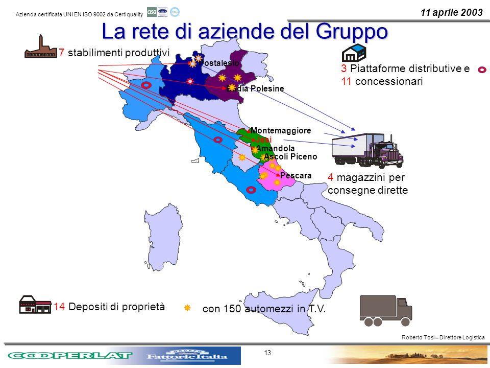11 aprile 2003 Azienda certificata UNI EN ISO 9002 da Certiquality 13 La rete di aziende del Gruppo 7 stabilimenti produttivi 14 Depositi di proprietà