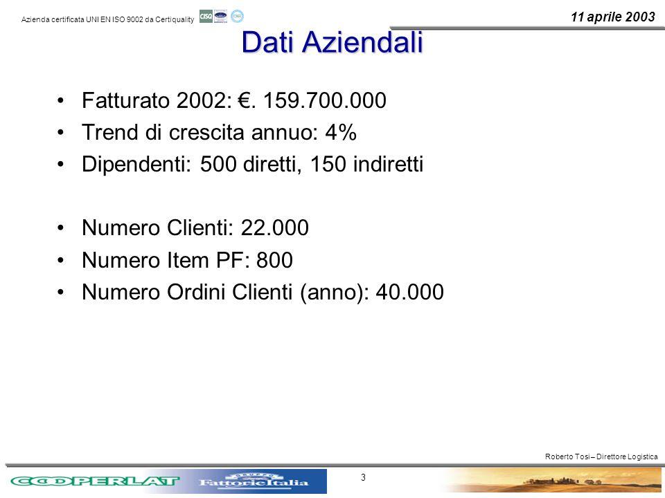 11 aprile 2003 Azienda certificata UNI EN ISO 9002 da Certiquality 3 Dati Aziendali Fatturato 2002:. 159.700.000 Trend di crescita annuo: 4% Dipendent