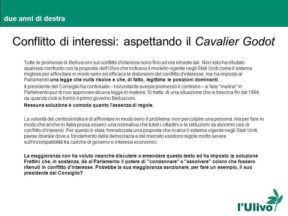 due anni di destra Conflitto di interessi: aspettando il Cavalier Godot Tutte le promesse di Berlusconi sul conflitto d'interessi sono fino ad ora rim