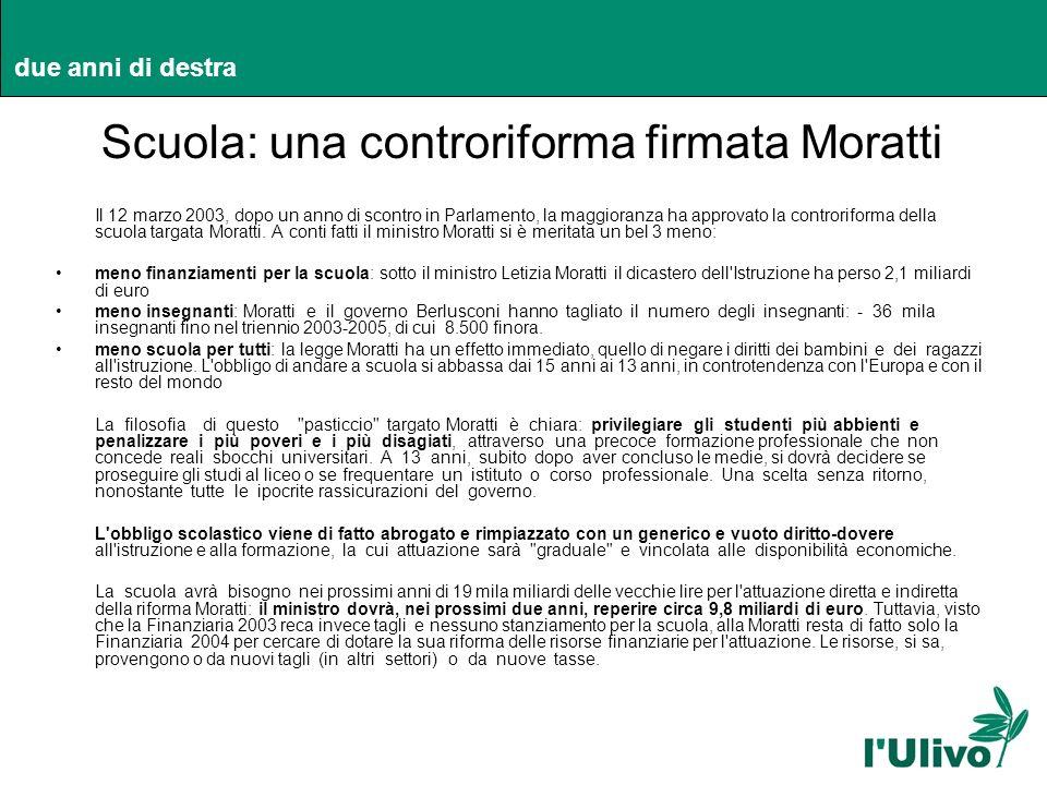 due anni di destra Scuola: una controriforma firmata Moratti Il 12 marzo 2003, dopo un anno di scontro in Parlamento, la maggioranza ha approvato la c