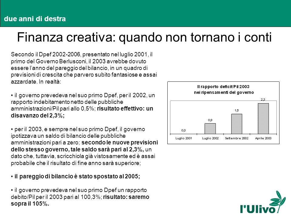 due anni di destra Finanza creativa: quando non tornano i conti due anni di destra Secondo il Dpef 2002-2006, presentato nel luglio 2001, il primo del