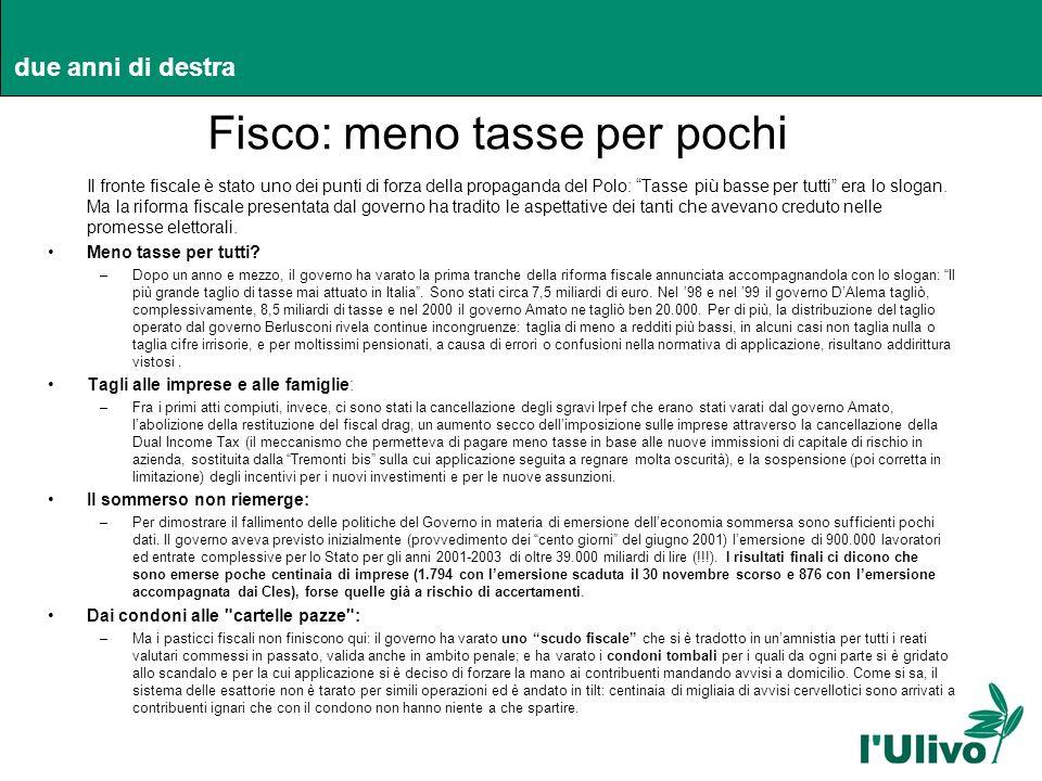 due anni di destra Fisco: meno tasse per pochi Il fronte fiscale è stato uno dei punti di forza della propaganda del Polo: Tasse più basse per tutti e