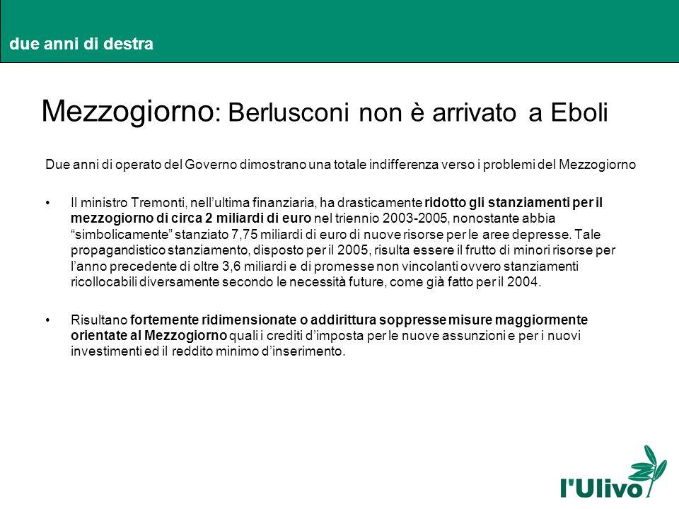 due anni di destra Mezzogiorno : Berlusconi non è arrivato a Eboli Due anni di operato del Governo dimostrano una totale indifferenza verso i problemi